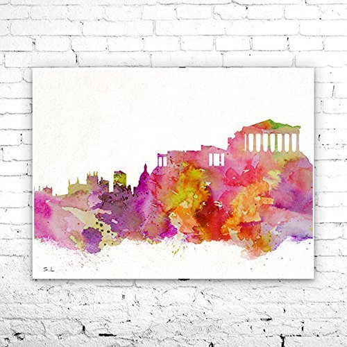 Athens City Skyline, Art Print, big apple poster, Athens poster, print, Athens watercolor, watercolor poster, map poster, City watercolor