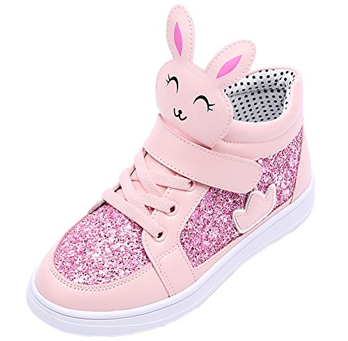 Kids Bunny Shoes (VECJUNIA Girls High Top Bunny Ear Dress Shoes Sequin Leather Princess Crown Sneakers Pink 1 M US Little Kid)
