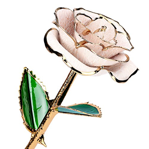 Flowers Gold Bag - 24k Gold Rose Flower with Long Stem Rose Dipped in Gold Gift for Women Girls on Birthday, Valentine's Day, Mother's Day, Christmas (White)