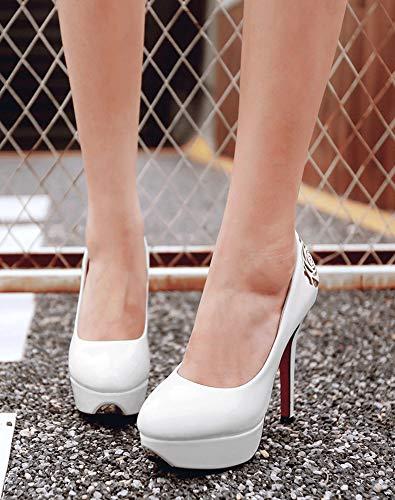 Escarpins Plateforme Mode Bout Fleurie Aisun Blanc Rond Epouse Femme qxtz7w0