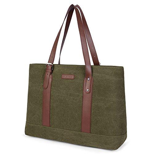 FosTak Women 15.6 inch Laptop Tote Bag Lightweight Tablet Shoulder Bag Adjustable Straps Slim Notebook Ultrabook Briefcase Business Work (Green) - Nylon Polyester Tote