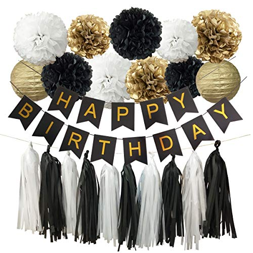 (InBy Black and Gold Happy Birthday Party Decoration Set for Boy Girl Birthday Supplies Kit - Happy Birthday Banner, 12