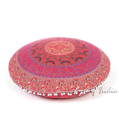 Eyes of India - 32'' Red Floor Pillow Cushion Seating Throw Cover Mandala Hippie Round Colorful Decorative Bohemian boho dog bed IndianCover Only