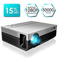 1080P Projector, CiBest Upgraded Native 1080P Projector HD Video Movie LED Projector for Home Theater Entertainment Parties Games [2018 Newest Model]