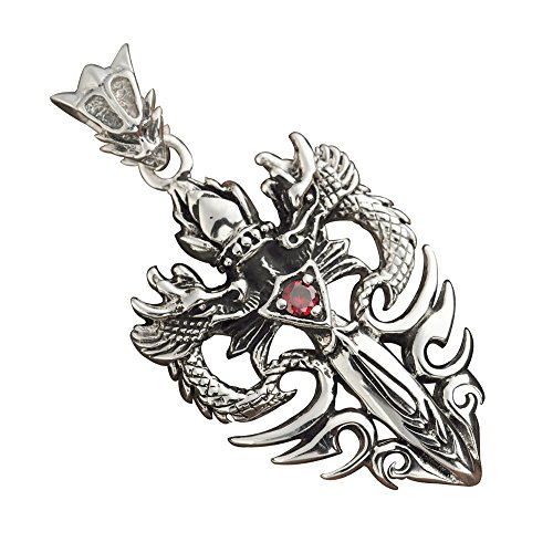 Double Dragon Sword - For Fox Mens Womens Vintage 925 Sterling Silver Sword & Double Dragons Necklace Pendant,55mm