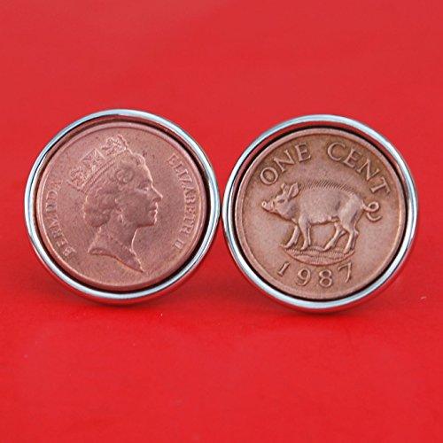 One Cent Coin Cufflinks - Bermuda 1970~2009 RANDOM YEAR One Cent Coin Silver Cufflinks NEW - Wild Boar