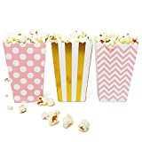 Mini Popcorn & Candy Favor Boxes for Birthday, Bridal and Baby Shower, All Parties & Events in Polka Dot, Chevron, and Striped Assorted Designs, 36 Count (Pink, Gold)