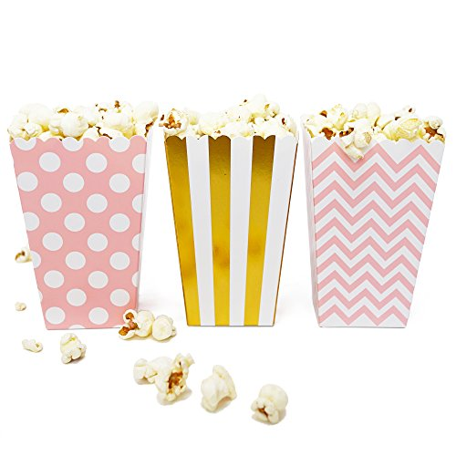 Mini Popcorn & Candy Favor Boxes for Birthday, Bridal and Baby Shower, All Parties & Events in Polka Dot, Chevron, and Striped Assorted Designs, 36 Count (Pink, Gold) -