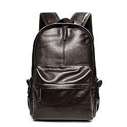 b0ed431edc30e Bdawin Damen Herren Teenagern Studenten PU Leder Rucksack Schultasche  Reisetasche Daypack für Schule Arbeit Outdoor Sports