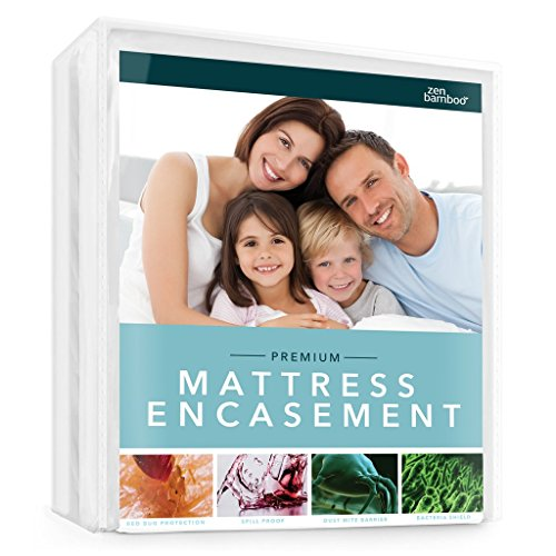 Zen Bamboo Mattress Encasement - Best Lab Tested Premium Waterproof, Hypoallergenic, Cool & Breathable Rayon Derived from Bamboo Mattress Encasement and Cover - ()