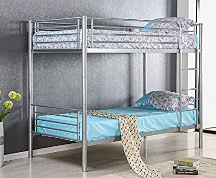 Amazon Com Merax Twin Size Metal Bed Frame Twin Over Twin Bunk Bed