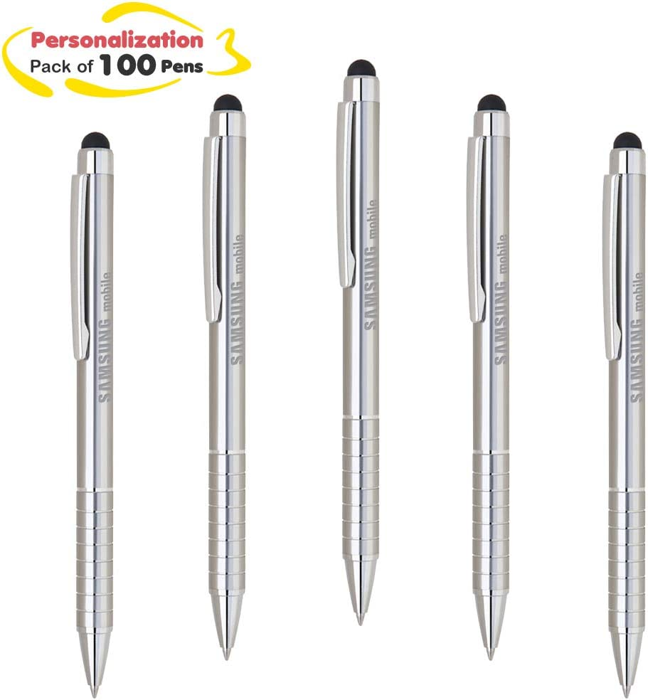 PREMIUM QUALITY 100 Personalised Laser Engraved Metal Promotional STYLUS Pens