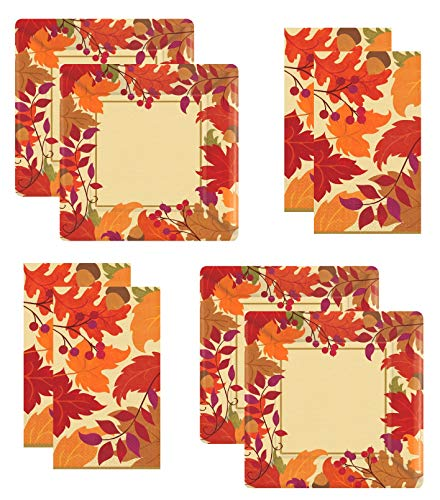 Thanksgiving Fall Disposable Dessert Appetizer paper Plates and napkins for 32 Guests