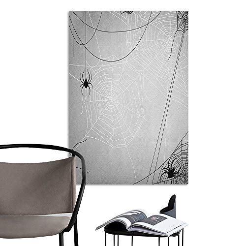 Jaydevn Stickers Wall Murals Decals Removable Spider Web Spiders Hanging from Webs Halloween Inspired Design Dangerous Cartoon Icon Grey Black White Art Mural Decals W16 x H20