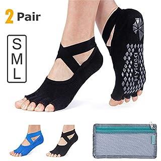 Non Skid Grip Yoga Socks for Women,Non Slip Half Toes Socks for Barre Dance Pilates Ballet, Cotton, Black Gray (Black/Blue, Medium)