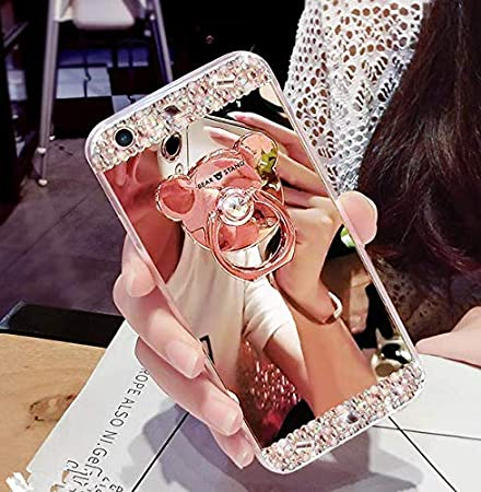 Funda para Huawei Mate 9,Funda Huawei Mate 9, Carcasa Caso Huawei Mate 9,Sweau Huawei Mate 9 Carcasa Caso Cover con Oso Anillo Flexible Lujo Caso Shockproof Slim Funda Lindo Bling Glitter Espejo Volver caso patró n Sparkle Frame Ultra Delgado Silico
