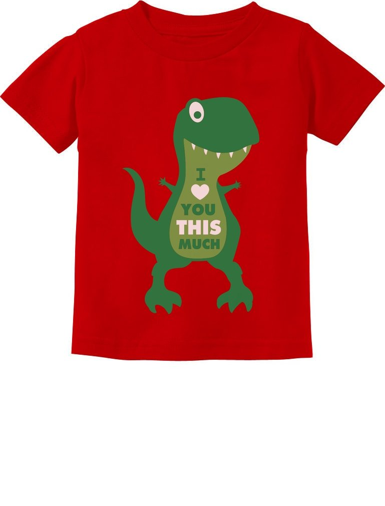TeeStars - Valentine's Day I Love You This Much T-Rex Toddler Kids T-Shirt 3T Red