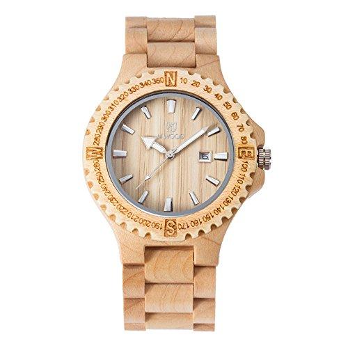 GOHUOS Men's Unique Wood Watches Round Quartz Analog Calendar Casual Wooden Wrist Watch Gift Maple