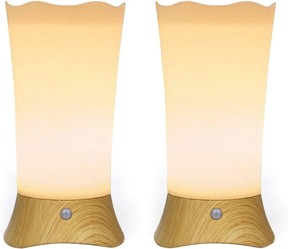 DEEPLITE Battery Operated Night Light Motion Sensor Small Cordless Table Lamp, Soft Glow Nightstand for Bathroom, Bedroom, Kid's Room, Hallway, Table Decor