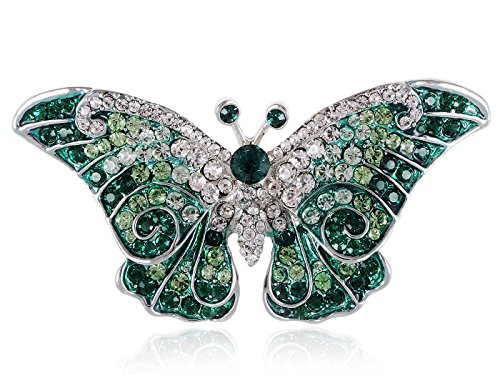 Emerald Green Rhinestone Pin (Empress Monarch Winged Butterfly Swarovski Crystal Rhinestones Brooch Pin - Emerald Green)