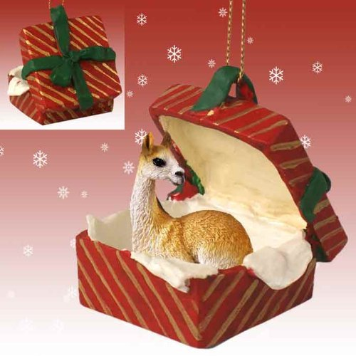 llama red gift box christmas ornament