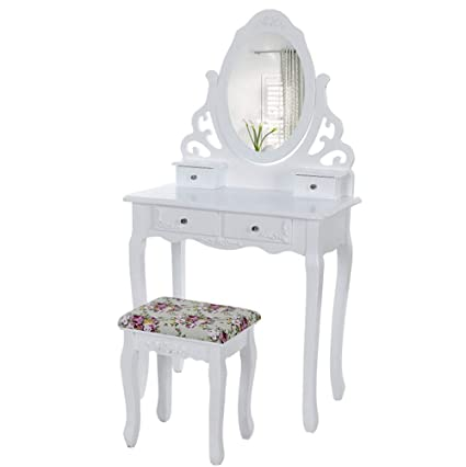 Amazon Com Yuwen Quieting White Dressing Table Makeup Desk With