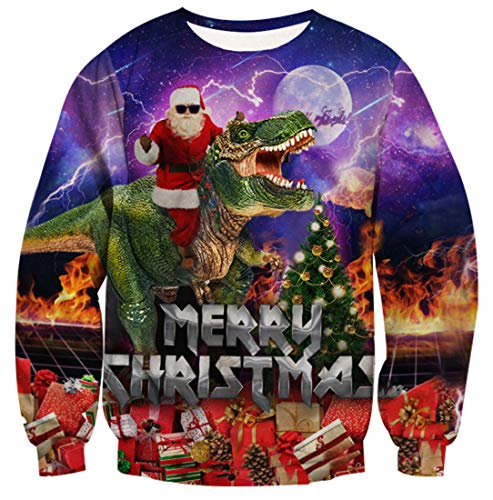 Belovecol Unisex Funny Tacky Christmas Sweater for Men Women Ugly Novelty Dinosaur Holiday Pullover Sweatshirts X-Large (Stupid Christmas Jumpers)