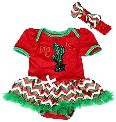 [My 1st Cinco de Mayo Dress Cactus Red Bodysuit RGW Chevron Tutu Romper Nb-18m (12-18 Months)] (Cinco De Mayo Dress)