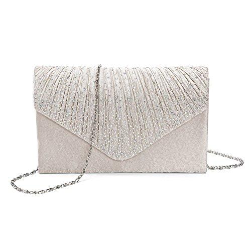 Kisschic Rhinestone Pleated Handbags Envelope Evening Clutch Bags Purse for Women Wedding Apricot