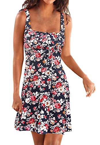Back Sundress - Upopby Women's Summer Casual Sleeveless Tshirt Dresses Beachwear Floral Printed Vest Dresses Navy Blue XL