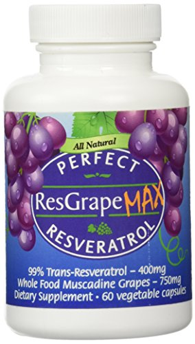 Perfect ResGrape Max 99 Trans-Resveratrol amp Muscadine Grape Anti-Aging Supplement amp Potent Antioxidant 60 Vegetable Capsules Discount