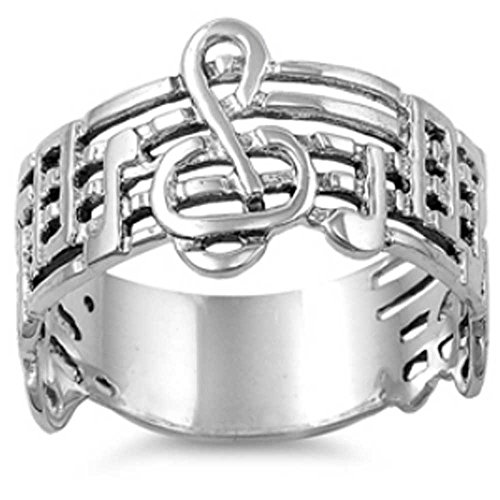 9MM .925 Sterling Silver PLAY MUSIC NOTES Treble Clef Sheet Note Ring Band 4-9 (7) by THE ICE EMPIRE