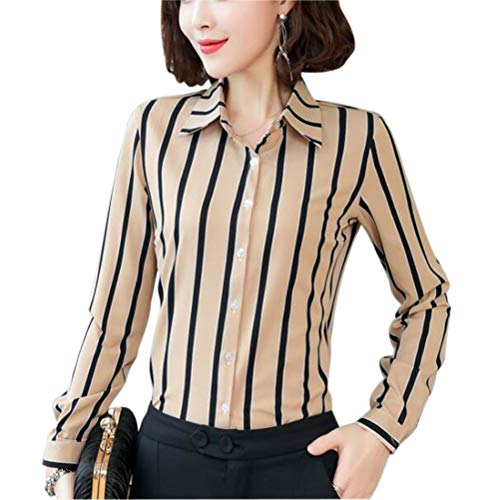 (Double Plus Open Women's Chiffon Casual Button Down Shirt Stripe Blouse Long Sleeve Apricot Stripe 2)