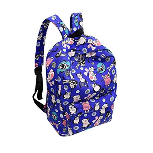 - Transer Cute Cartoon Kitty Print Nylon Backpack School Bags Travel Bag Bookbag for Teenage Girls (Drak Blue)