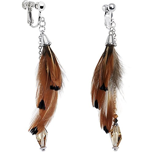 Body Candy Handcrafted Silver Plated Fall Feather Clip On Earrings Created with Swarovski Crystals