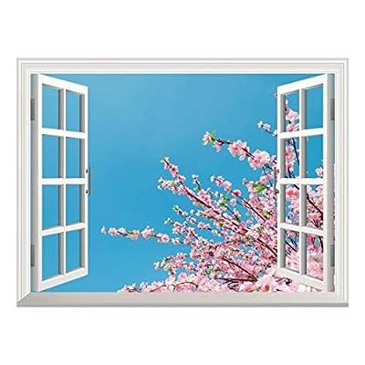 Removable Wall Sticker/Wall Mural - Cherry Blossom/Sakura Flowers Under Blue Sunny Sky | Creative Window View Home Decor/Wall Decor - 36