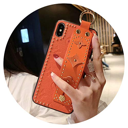 New Women Men Phone Case Fashion New Rivet Fashion Phone case Cover for iPhone 7plus 8plus 6Splus 6 7 8 X XS max Xr 6.5 inch 6.1 Wrist Strap case,Orange,for iPhone Xr orange iphone xr case 1