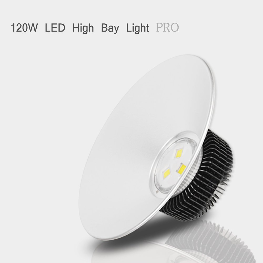 VidaGoods 120W Watt LED High Bay Light Bright White Lamp Lighting Fixture Factory Industry Warehouse - Heat Efficient - Input 85V-265V
