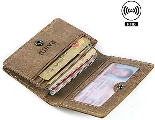 RFID Blocking Leather Business Card Holder for Men Credit Card Protector Vintage