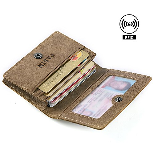 RFID Blocking Credit Card Holder Leather ID Case for Men Pabin (Vintage Khaki)