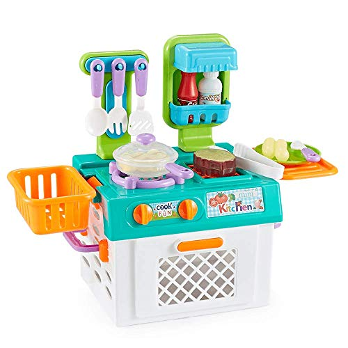 Think Gizmos Portable Pretend Play Cooking Sets for Kids with Colour Changing Cooking Effect Food - Fun Play Sets for Boys & Girls (Kitchen Set)