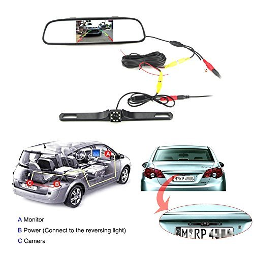 Waterproof Backup Camera and Monitor kit,4.3 inch Backup Camera & Rear View Monitor Reversing Parking Mirror Reverse System + LED Night Vision Cam,Tft-lcd Rearview Parking Monitor Assembly by Rodam (Image #2)