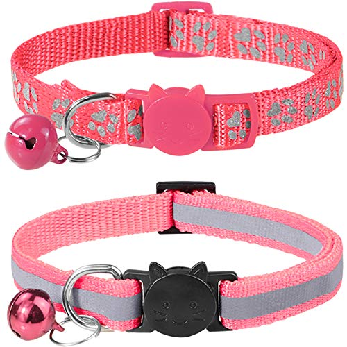 Taglory Reflective Cat Collars Breakaway with Bell, 2 Pack