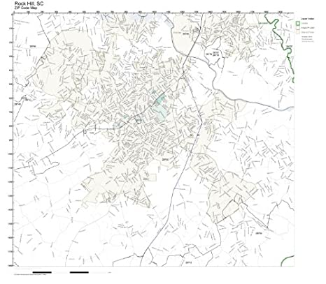 Rock Hill Sc Zip Code Map.Amazon Com Zip Code Wall Map Of Rock Hill Sc Zip Code Map