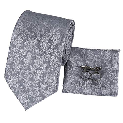 (Hi-Tie Mens Classic Grey Paisley Tie Necktie Pocket Square and Cufflinks Tie Set Gift Box)
