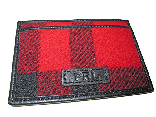 Case Card Mens Buffalo Lauren Polo Red Ralph Check Wallet Leather Wool ZnH080qP