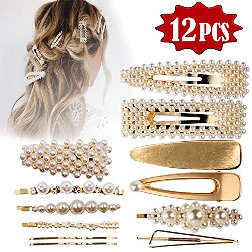 TraGoods 12Pcs Pearl Hair Clips For Women Lady Girls Pearl Wrapped Bobby Pin Hairpins Barrettes, Wedding Bridal Ornaments For Birthday Valentines Day Gifts Bling (Gold)