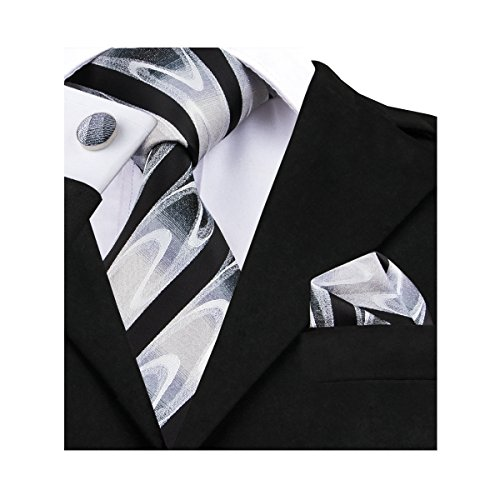 Silk Woven Belt - Barry.Wang Black and White Stripe Tie Set Woven Silk Neckties,Black 6,One Size