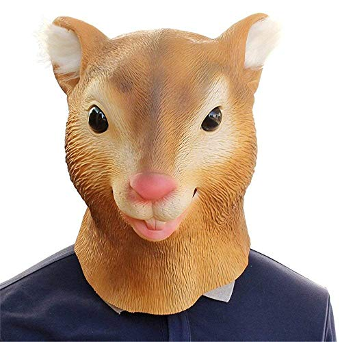 (New Mask Latex Deluxe Novelty Halloween Costume Party Squirrel Female Cow Animal Head)