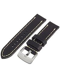 Tech Swiss LEA1550-22 22mm Leather Calfskin Black Watch Band